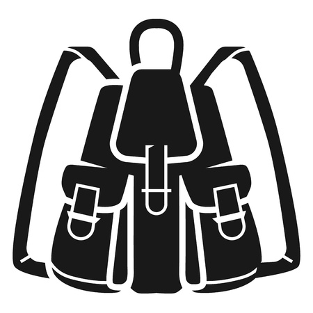 Fishing backpack icon. Simple illustration of fishing backpack vector icon for web design isolated on white background