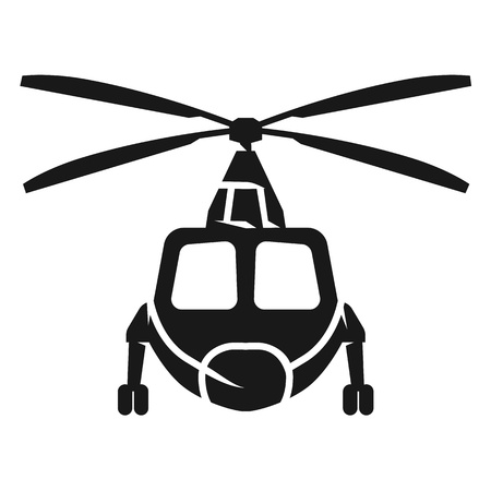 Cargo helicopter in front icon. Simple illustration of cargo helicopter in front vector icon for web design isolated on white background