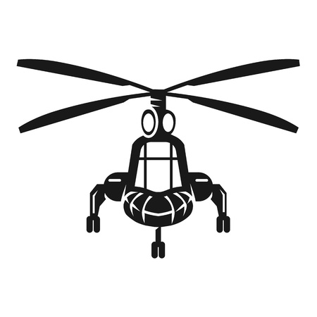 Military helicopter in front icon. Simple illustration of military helicopter in front vector icon for web design isolated on white background