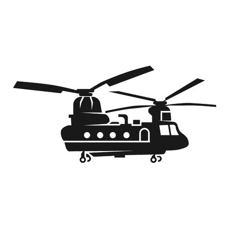 Chinook helicopter icon. Simple illustration of chinook helicopter vector icon for web design isolated on white background Ilustração