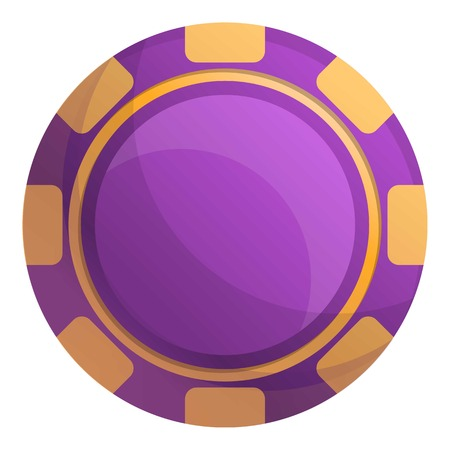 Purple casino chips icon. Cartoon of purple casino chips vector icon for web design isolated on white background