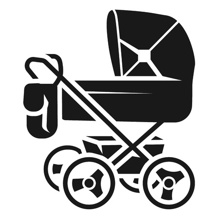 Baby stroller with bag icon. Simple illustration of baby stroller with bag vector icon for web design isolated on white background Stock Vector - 124607394
