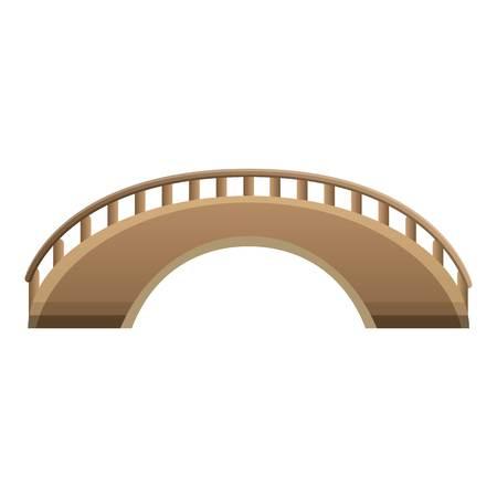 Wood bridge icon. Cartoon of wood bridge vector icon for web design isolated on white background Ilustração