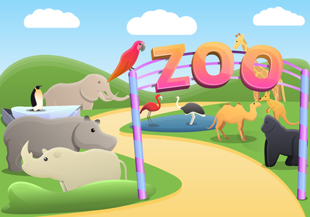 Park zoo concept background. Cartoon illustration of park zoo vector concept background for web design Illustration