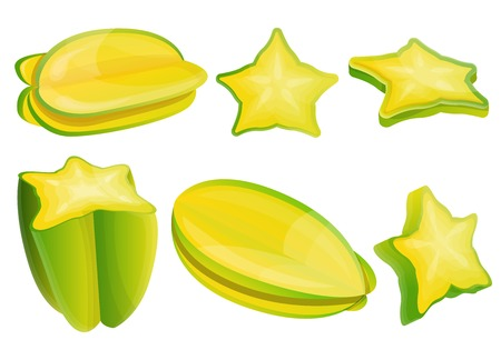 Carambola icons set. Cartoon set of carambola vector icons for web design Illustration