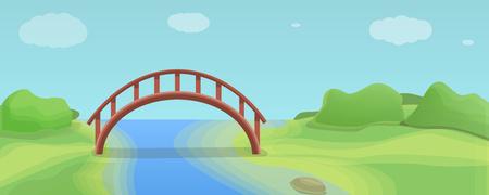 Wood river bridge concept banner. Cartoon illustration of wood river bridge vector concept banner for web design