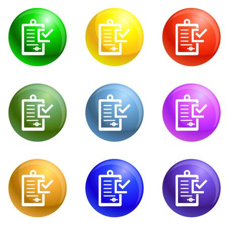 Approved bribery paper icons vector 9 color set isolated on white background for any web design 일러스트