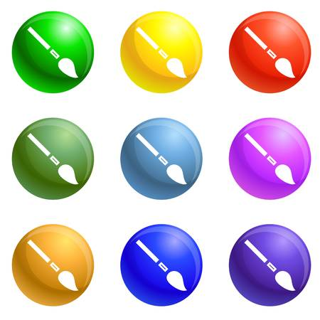 Brush paint tool icons vector 9 color set isolated on white background for any web design 矢量图像