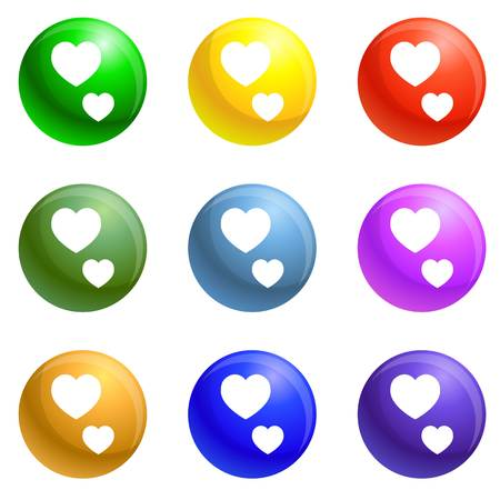 Thumb up heart icons vector 9 color set isolated on white background for any web design