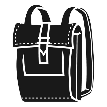 Leather backpack icon. Simple illustration of leather backpack vector icon for web design isolated on white background Ilustração