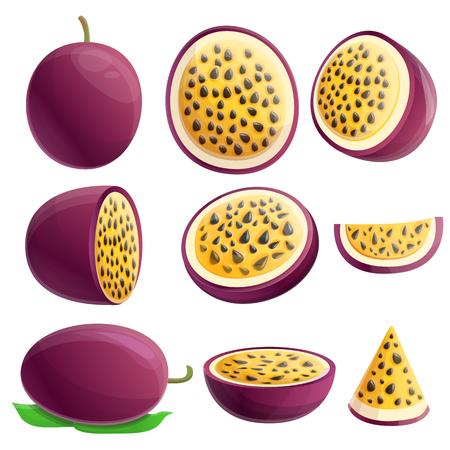 Maracuja icons set. Cartoon set of maracuja vector icons for web design