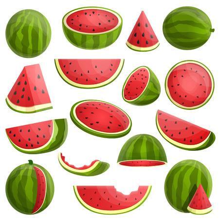 Watermelon icons set. Cartoon set of watermelon vector icons for web design Vektorové ilustrace