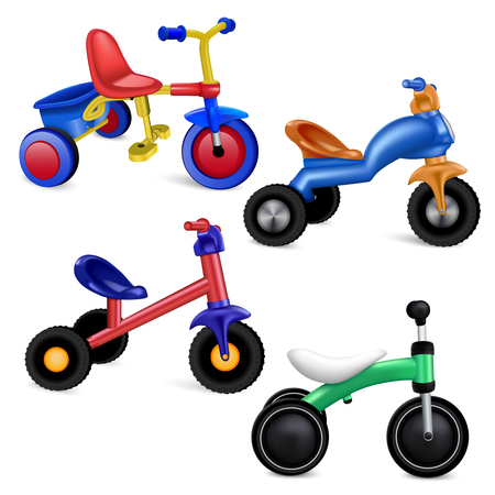 Tricycle icons set. Realistic set of tricycle vector icons for web design isolated on white background Stock Illustratie