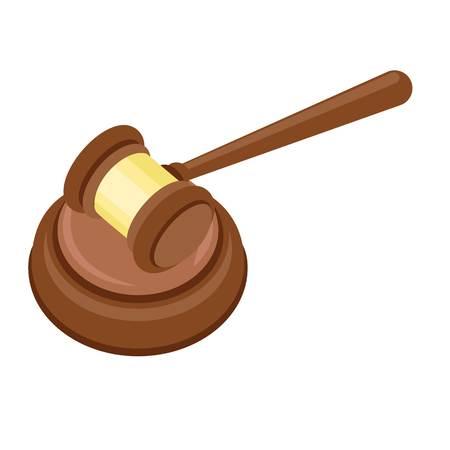 Icono de mazo de juez. Ilustración plana del icono de vector de martillo de juez para diseño web