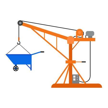 Construction crane icon. Flat illustration of construction crane vector icon for web design Illustration