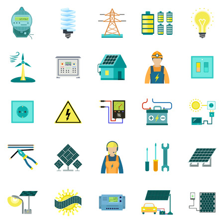 Energy equipment icon set. Flat set of energy equipment vector icons for web design