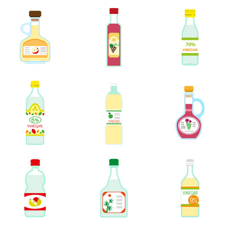 Vinegar icon set. Flat set of vinegar vector icons for web design Illustration