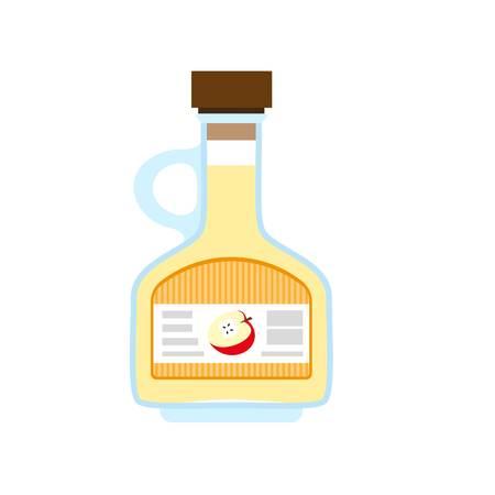 Icono de vinagre de manzana. Ilustración plana de vinagre de manzana icono vectoriales para diseño web Ilustración de vector