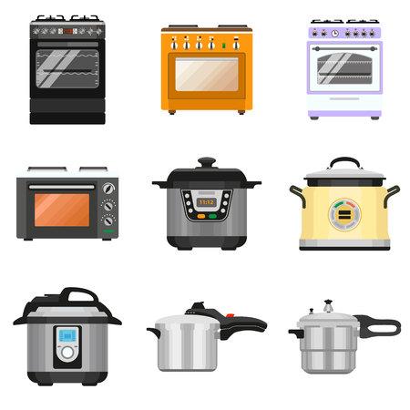 Insieme dell'icona del fornello. Set piatto di icone vettoriali per fornelli per il web design