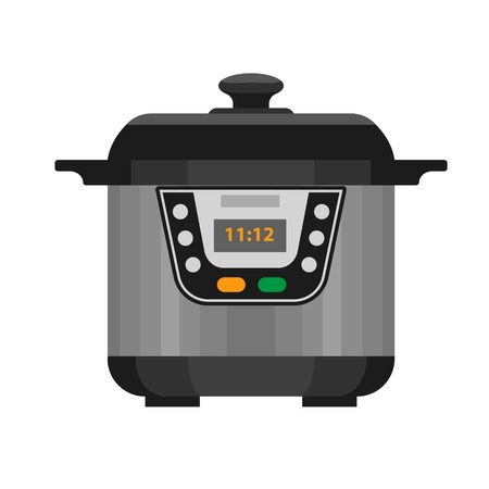 Electric cooker icon. Flat illustration of electric cooker vector icon for web design