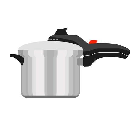 Hand pressure cooker icon. Flat illustration of hand pressure cooker vector icon for web design
