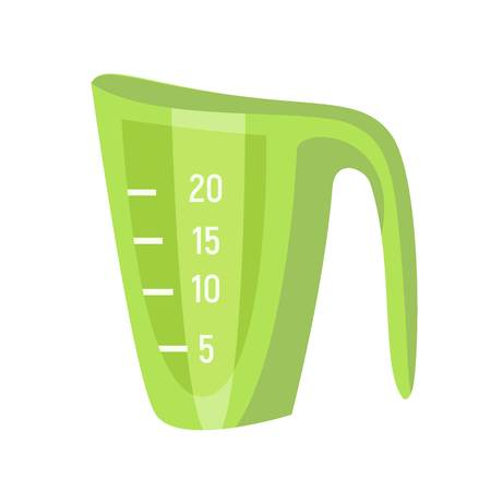 Green measurement jug icon. Flat illustration of green measurement jug vector icon for web design