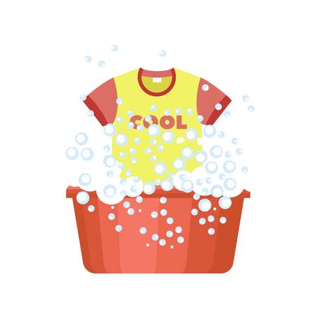 Tshirt wash plastic basin icon. Flat illustration of tshirt wash plastic basin vector icon for web design