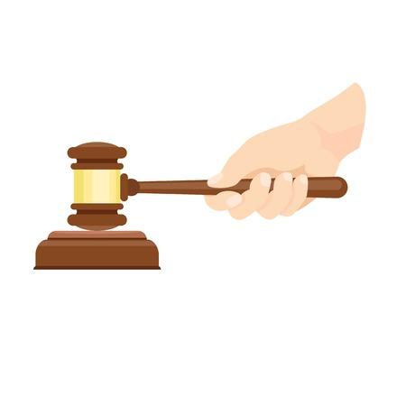 Wood gavel in hand icon. Flat illustration of wood gavel in hand vector icon for web design
