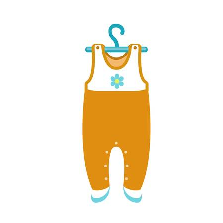 Baby clothes on hanger icon. Flat illustration of baby clothes on hanger vector icon for web design Banque d'images - 124444064
