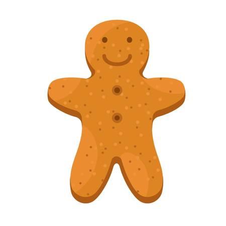 Man gingerbread icon. Flat illustration of man gingerbread vector icon for web design Ilustração