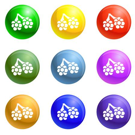 Virus alveoli icons vector 9 color set isolated on white background for any web design