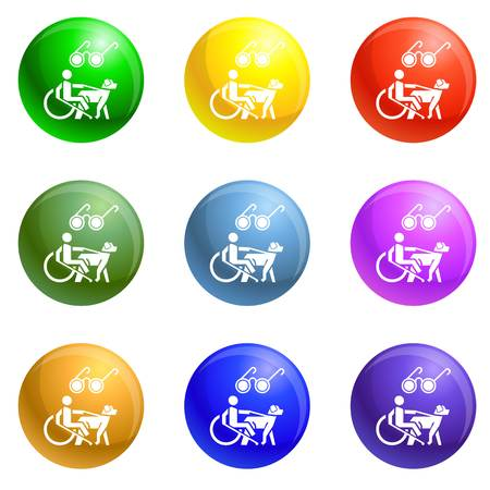 Blind man wheelchair dog icons vector 9 color set isolated on white background for any web design