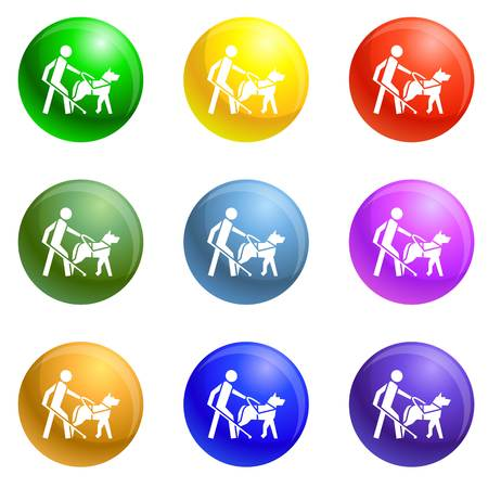 Blind boy dog guide icons vector 9 color set isolated on white background for any web design Illustration