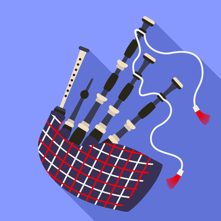 Scottish bagpipes icon. Flat illustration of scottish bagpipes vector icon for web design