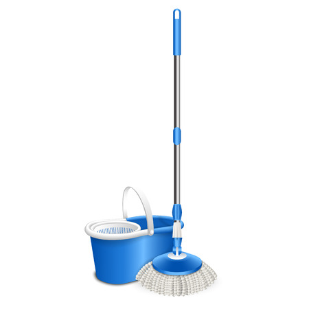 Cleaning mop icon. Realistic illustration of cleaning mop vector icon for web design isolated on white background