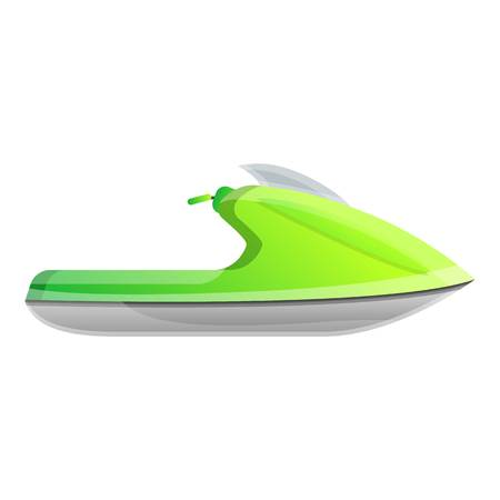 Green jet ski icon. Cartoon of green jet ski vector icon for web design isolated on white background