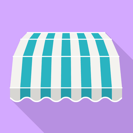Blue striped canopy icon. Flat illustration of blue striped canopy vector icon for web design 矢量图像