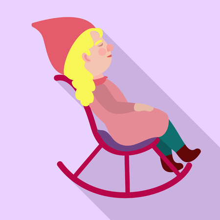 Gnome rocking chair icon. Flat illustration of gnome rocking chair vector icon for web design Illustration