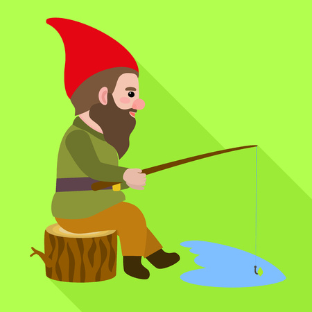 Gnome fishing icon. Flat illustration of gnome fishing vector icon for web design