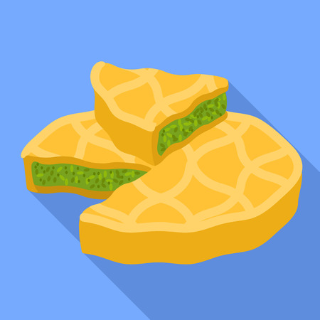 Spinach cake piece icon. Flat illustration of spinach cake piece vector icon for web design