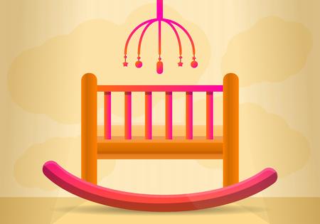 Baby crib concept banner. Cartoon illustration of baby crib vector concept banner for web design Illusztráció