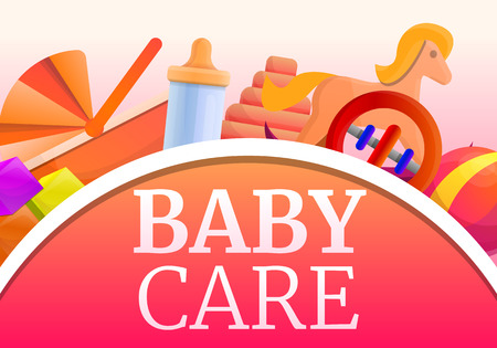 Baby care concept banner. Cartoon illustration of baby care vector concept banner for web design