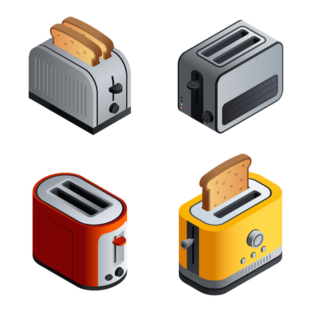 Toaster icons set. Isometric set of toaster vector icons for web design isolated on white background