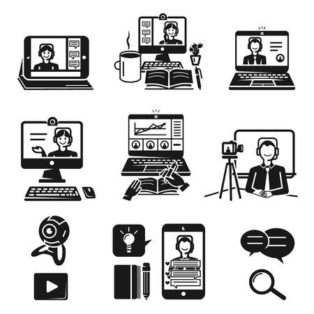 Webinar icons set. Simple set of webinar vector icons for web design on white background Vektorové ilustrace