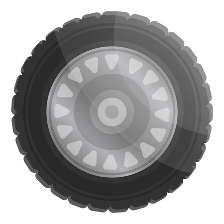Car wheel icon. Cartoon of car wheel vector icon for web design isolated on white background