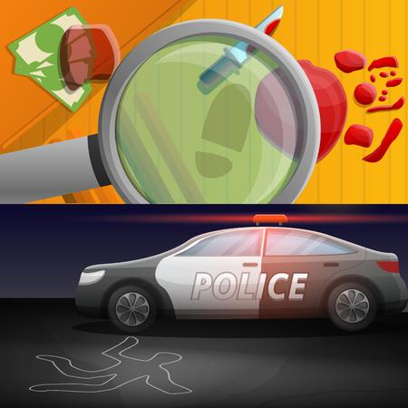 Insieme della bandiera di indagine sulla criminalità. Illustrazione del fumetto del set di banner vettoriali per le indagini sulla criminalità per il web design Vettoriali
