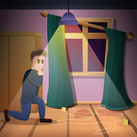 Private crime investigation concept background. Cartoon illustration of private crime investigation vector concept background for web design Illustration