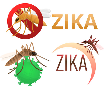 Zika virus icons set. Cartoon set of zika virus vector icons for web design