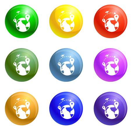 Global refugee migration icons vector 9 color set isolated on white background for any web design Vettoriali