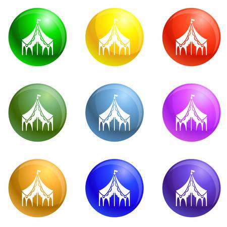 Festival tent icons vector 9 color set isolated on white background for any web design